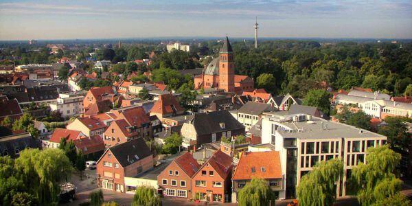 Die Stadt Nordhorn in der Grafschaft Bentheim